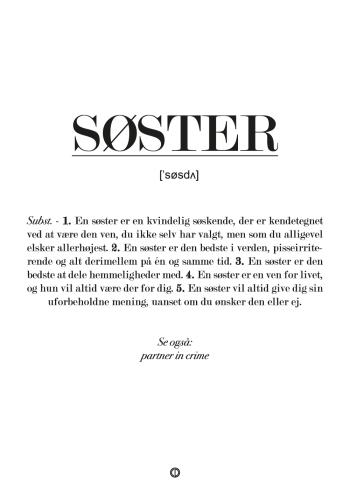 Sød plakat med definition af søster som var det i en ordbog.
