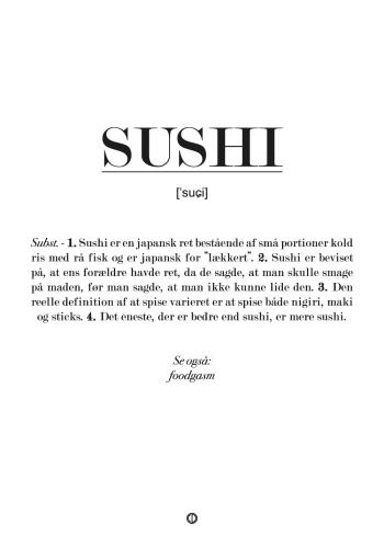Plakat med sushi definition. Sjov gave med sushi
