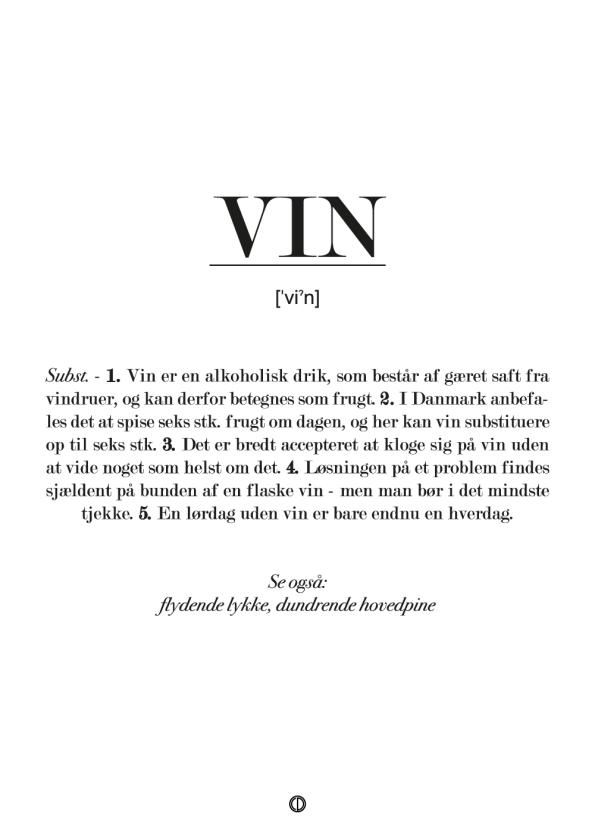 Sjov plakat med definition af vin. Gave til hende