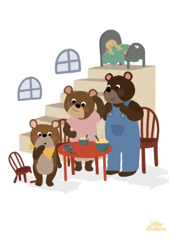 guldlok og de tre bjørne eventyr på plakat