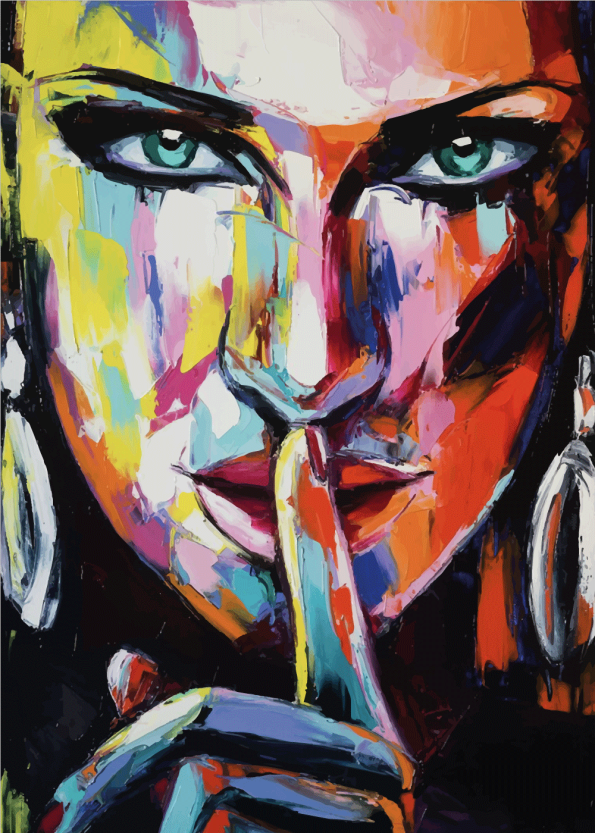 kunstplakater med kvinde malet groft med flere farver