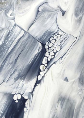 maleri plakat af blå og grå toner i vandfarve