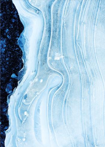 maleri plakat af blå bølgede farver