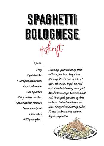 mad plakater med opskrift på spaghetti cabonara