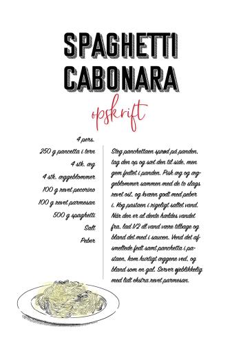mad plakater med opskrift på cabonara