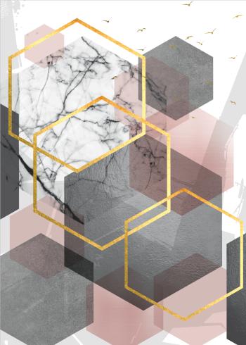 grafiske plakater med sekskantede former i guld, lyserød og grå farver