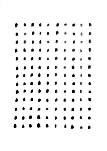 kunstplakat med blå prikker samlet i en firkant