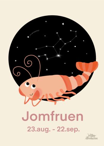 Stjernetegns plakat med jomfruen i lyserød