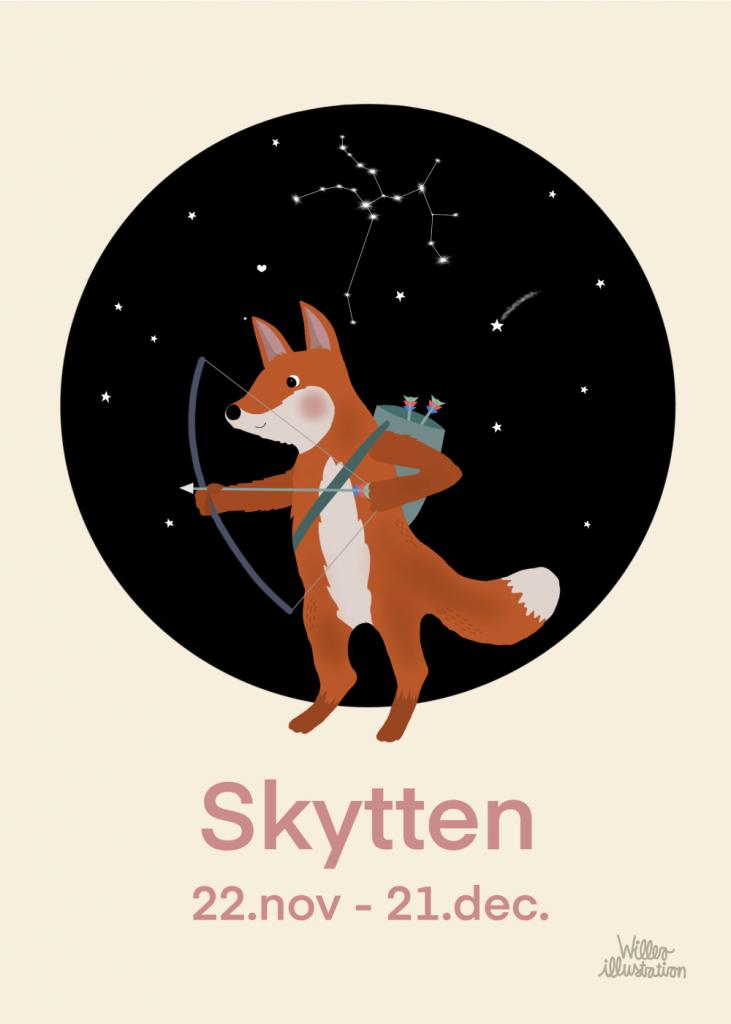 Stjernetegns plakat med skytten i lyserød