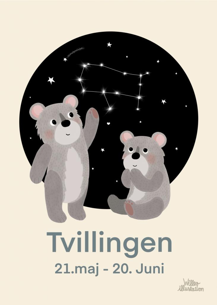 Stjernetegns plakat med tvillingen i blå