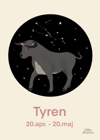 Stjernetegns plakat med tyren i lyserød