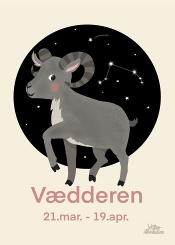 Stjernetegns plakat med vædderen i lyserød