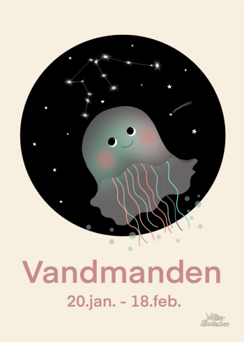 Stjernetegns plakat med vandmanden i lyserød