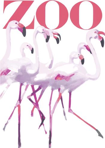 zoo plakater med flotte flamingoer