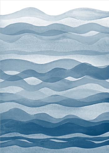 kunst plakat af malede blå bølger og hav i vandfarver