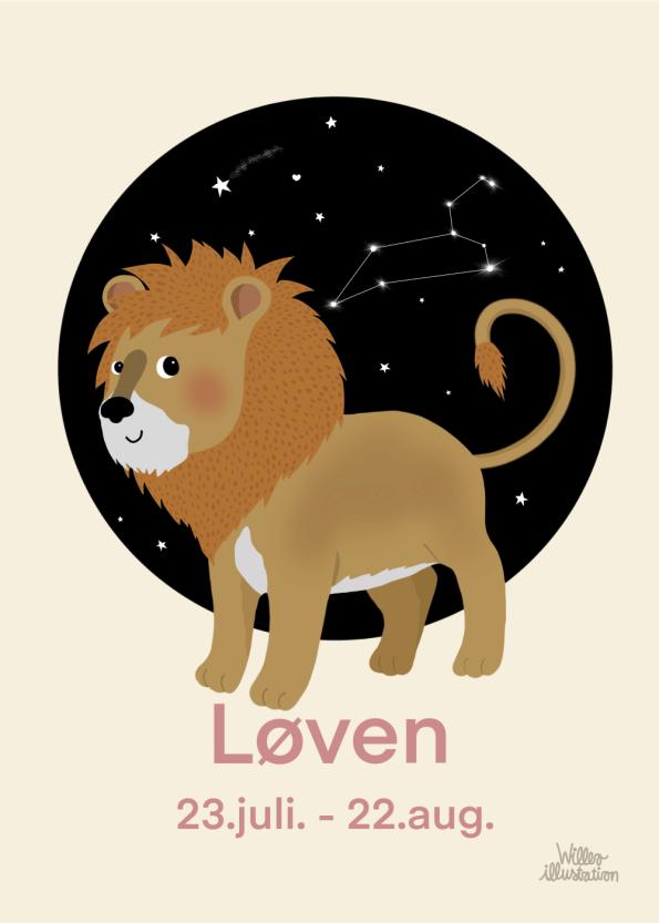 stjernetegns plakat med løven i lyserød