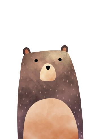 børneplakater med skovens dyr med bjørnen