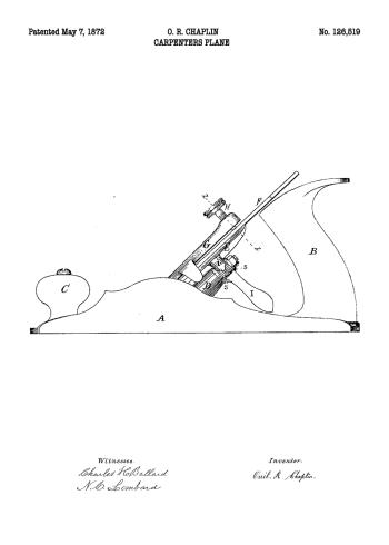 plakater med patent tegning af høvl