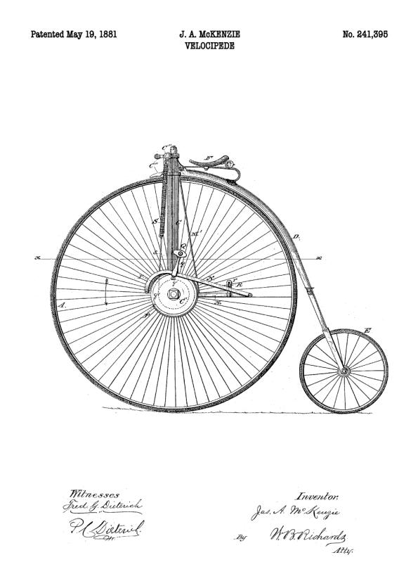 patent plakat tegning af vælte peter cyklen
