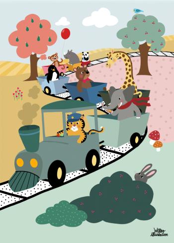 børneplakat med eventyr toget og skovens dyr