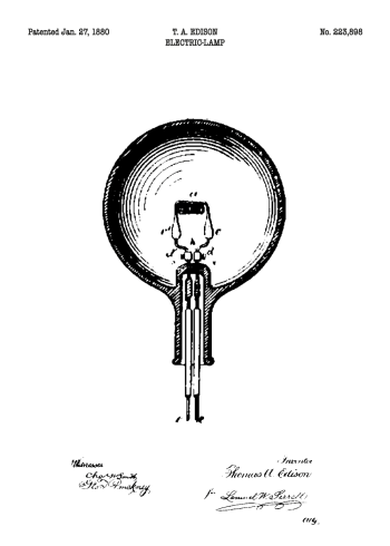 patent plakat med tegning af el pære