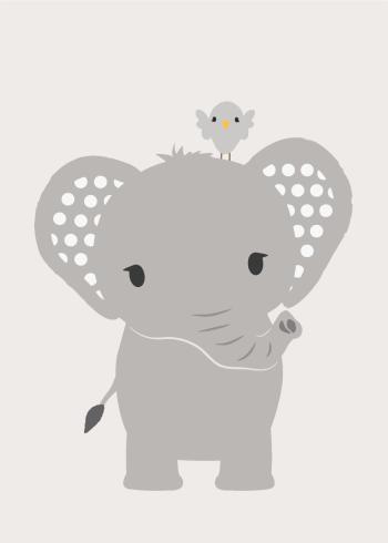 børneplakater med søde tropiske dyr som elefanter