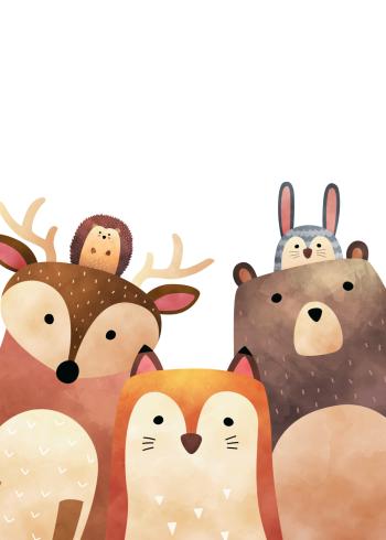 børneplakater med skoven dyr og venner