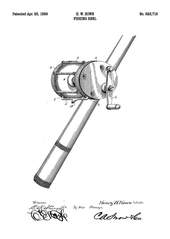 plakat med patent tegning af fiskehjul på fiskestang