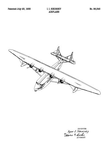 airplane patent plakat
