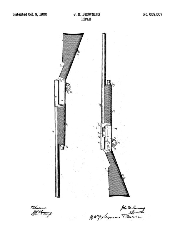 patent tegning af riffel på plakat