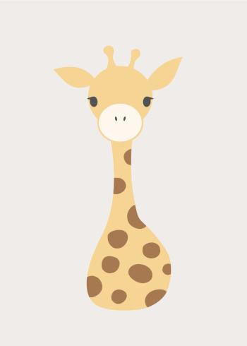 børneplakater med søde dyr i enkel tegnestil