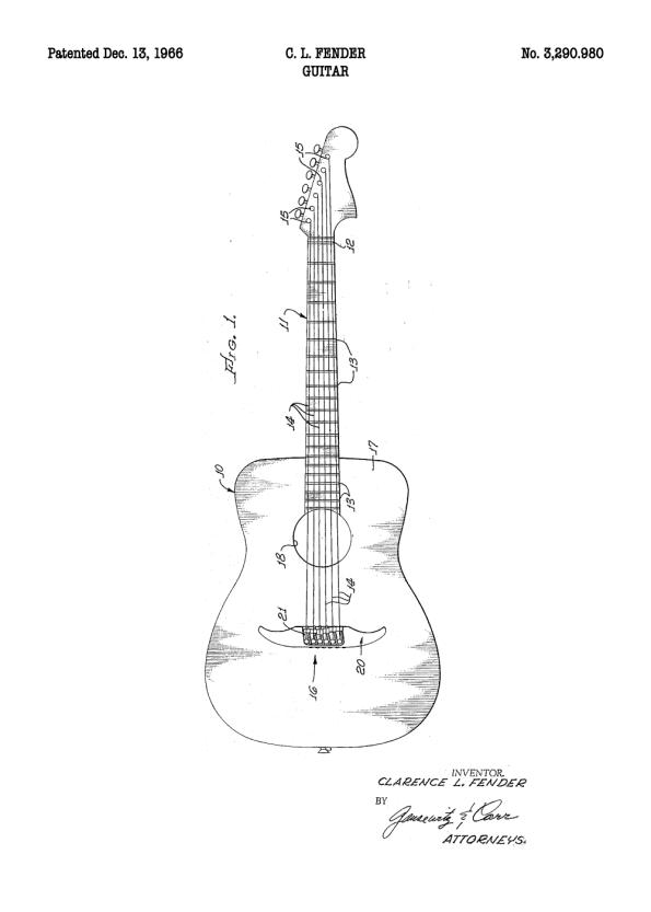 patent plakat med tegning af guitar