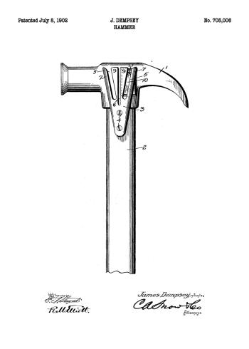 plakater med patent tegning af hammer på plakat