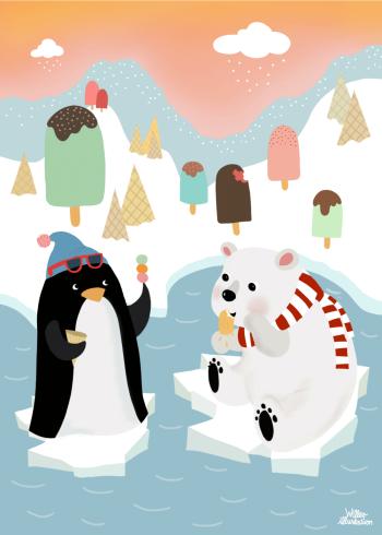 børneplakat med dyr på nordpolen der spiser is