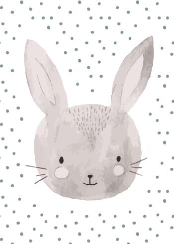 børneplakater med søde nordiske dyr som kaniner