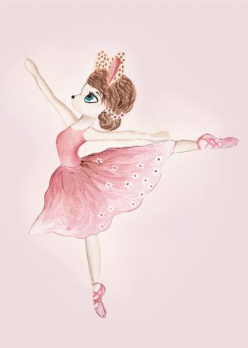 børneplakater med sød og lyserød ballerina der danser
