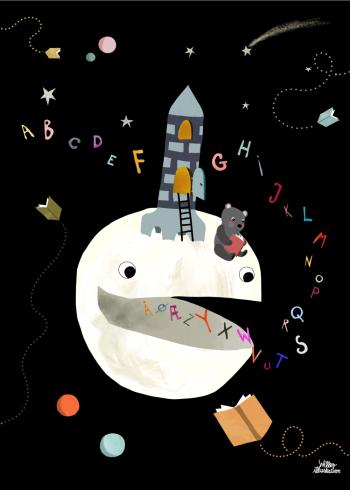 abc plakat i et mørkt børne univers