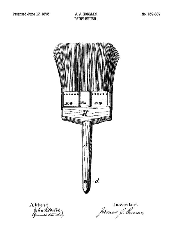 patent tegning af malerpensel