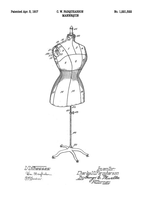 mannequin patent tegning på plakat