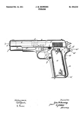 plakater med patent tegning af pistol