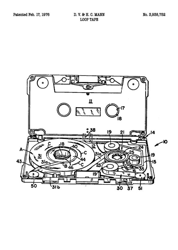 kassettebånd på patent plakat
