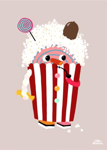 børnetegnings plakat med slik og popcorn