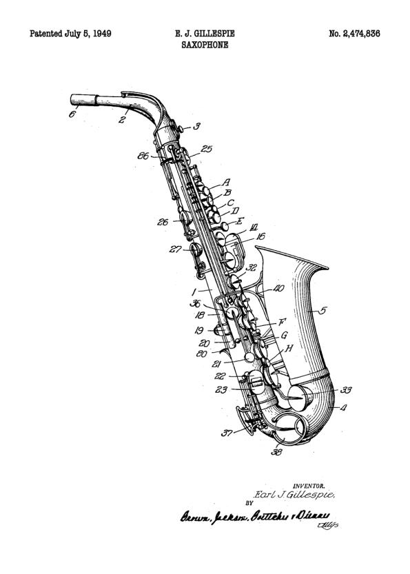 saxofon patent plakat