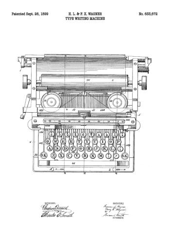 skrivemaskine patent plakat