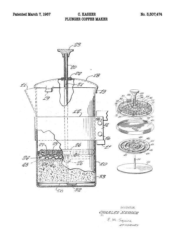 stempelkande plakat med patent tegning