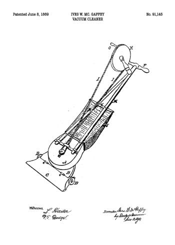 støvsuger patent tegning på plakat