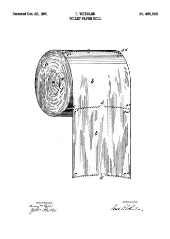 toilet plakat med patent tegning af toiletrulle