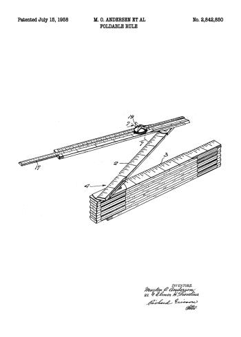 plakater med patent tegning af tommestok