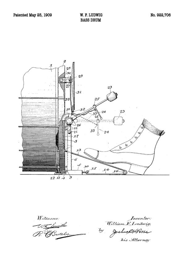 patent tegning af stortromme på plakat
