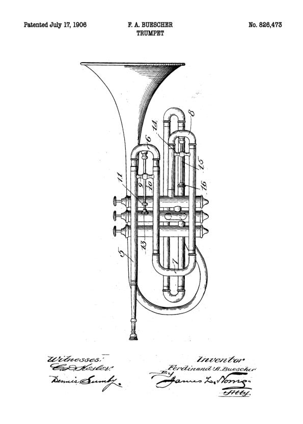 trompet plakat med patent tegning